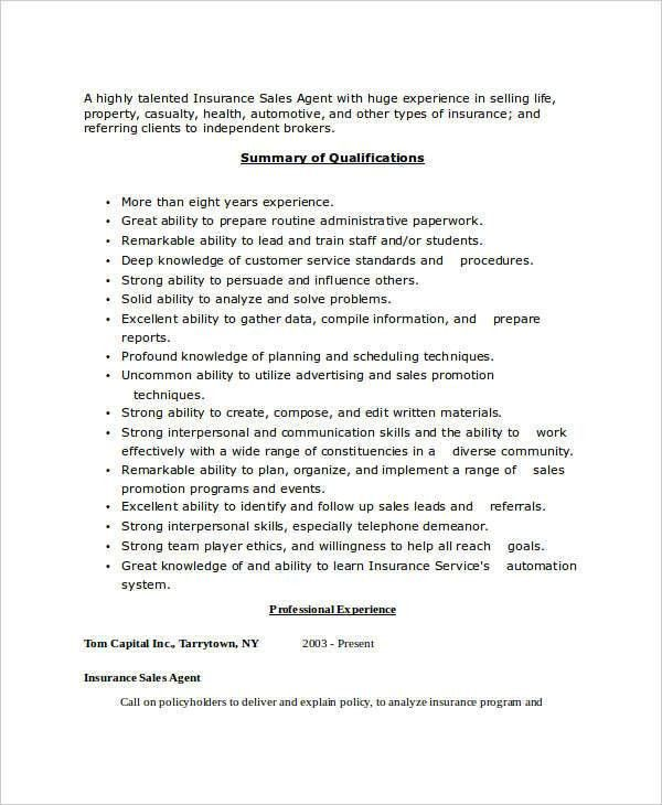 Insurance Agent Resume. Insurance Sales Agent Resume 43+ Sales ...