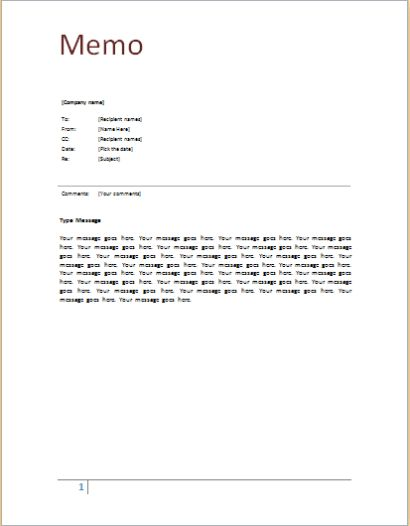 Free Professional Business Memo Template | Calendar Template ...
