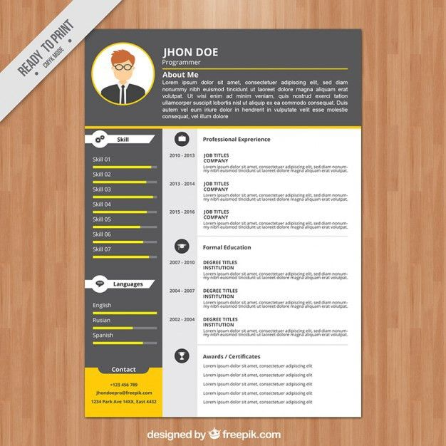 Programmer resume template Vector | Free Download