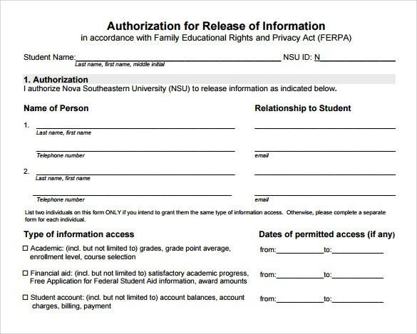 Release Of Information Form. Sample Release Of Information Form ...