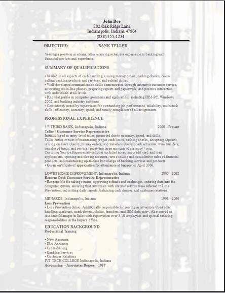 Bank Teller Resume Sample | berathen.Com