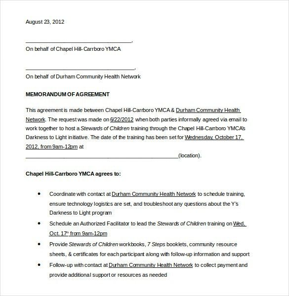 11+ Memorandum of Agreement Templates – Free Sample, Example ...