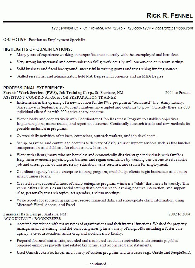 Resume Example for an Employment Specialist - Susan Ireland Resumes