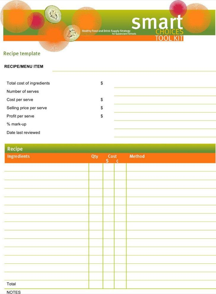 Word Recipe Templates | Download Free & Premium Templates, Forms ...