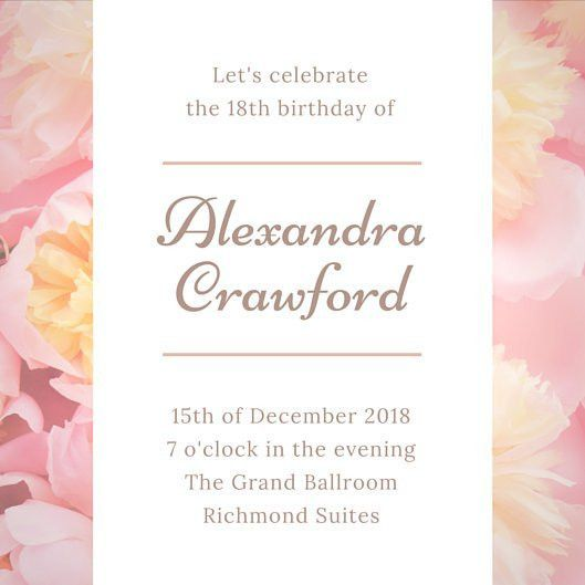 Floral Pink & Gold Birthday Invitation - Templates by Canva