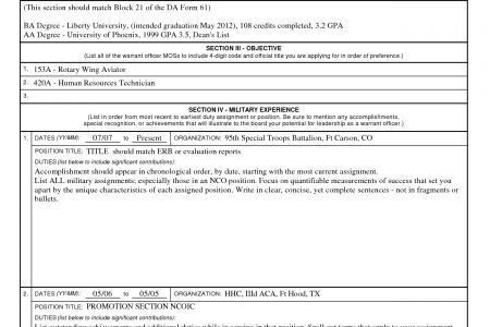 Army Warrant Officer Resume Example - Reentrycorps
