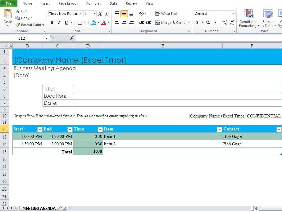 Meeting Agenda Template Excel - Corpedo.com