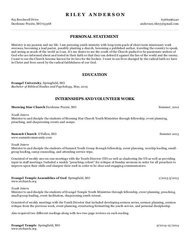 Youth Pastor Resume #14901