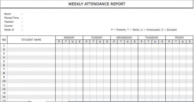 Weekly Staff Attendance Sheet Template : Selimtd
