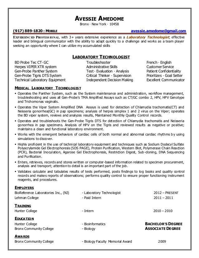 AVESSIE AMEDOME. Resume - Laboratory Technologist