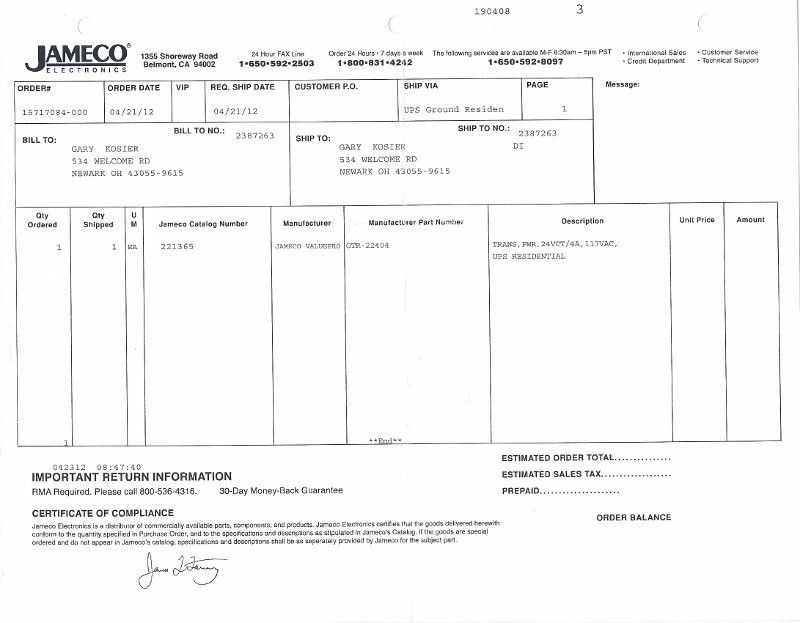 bill of sale from Jameco Electronics -