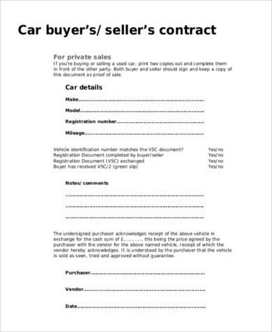 Car Bill of Sale Form Template Sample | Calendar Template Letter ...
