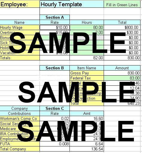 Excel Payroll Spreadsheet for QuickBooks