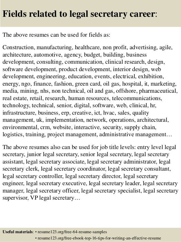 Top 8 legal secretary resume samples