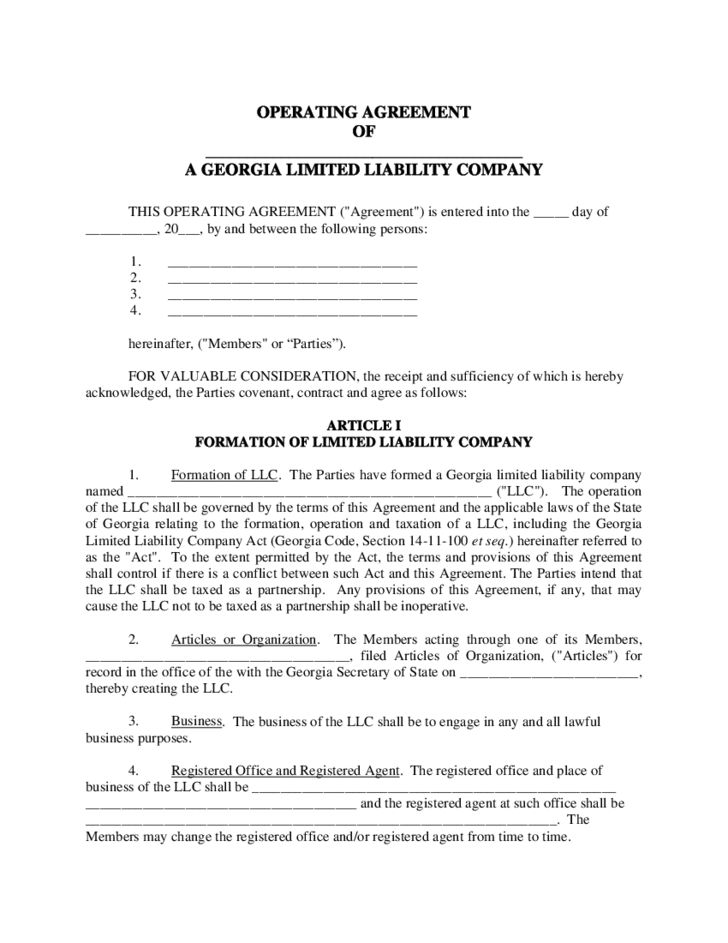 Sample LLC Operating Agreement Free Download