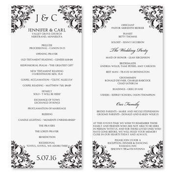 One Page Wedding Program Template | Template Design