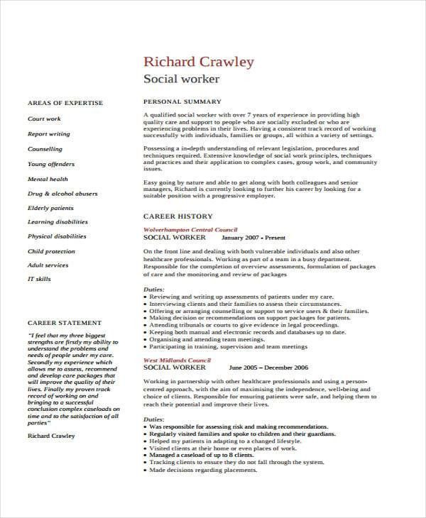 Social Work Resume Templates. Resume Format For Social Worker ...