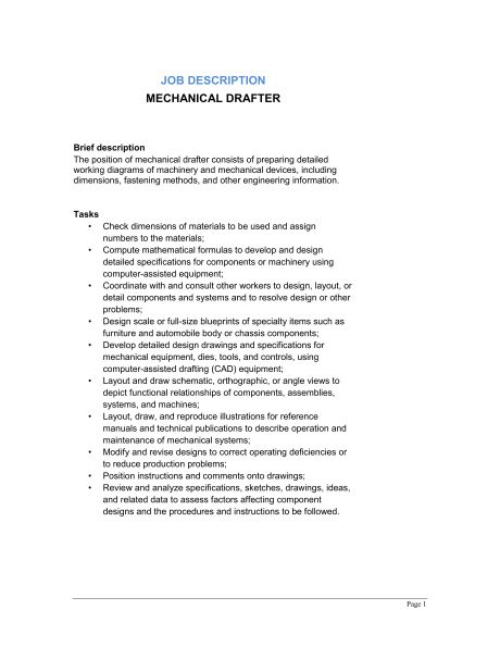 Mechanical Drafter Job Description - Template & Sample Form ...