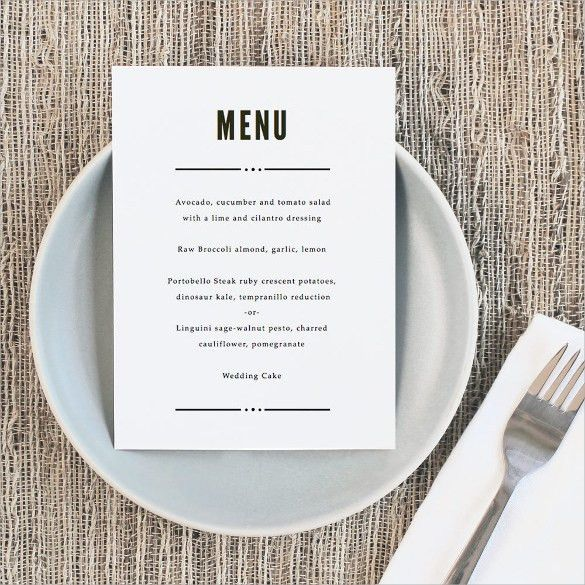 sample wedding menu templates free