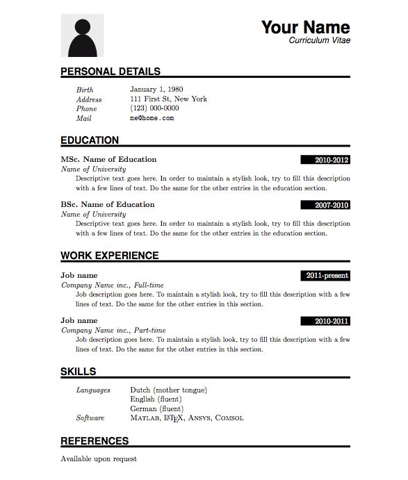 word curriculum vitae template resume template for word and ...