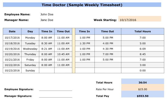 Free Employee Timesheet Templates - Excel, Google, PDF, Word