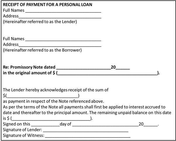 What should a receipt of payment for a personal loan payment look ...