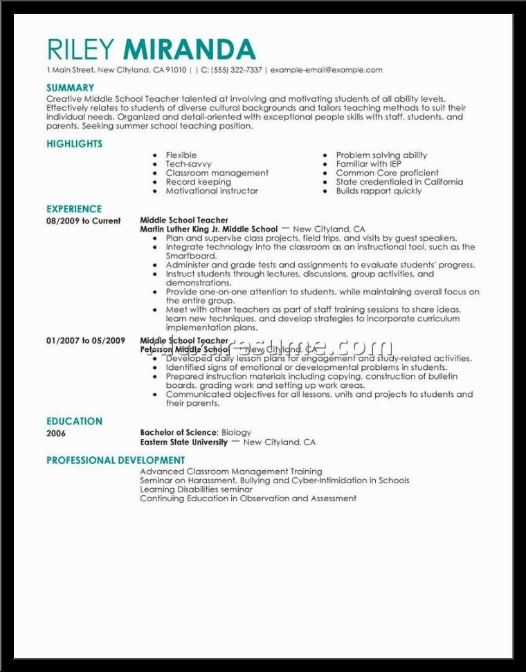 Teaching Resume Objective Education Resume Template Word Teacher ...