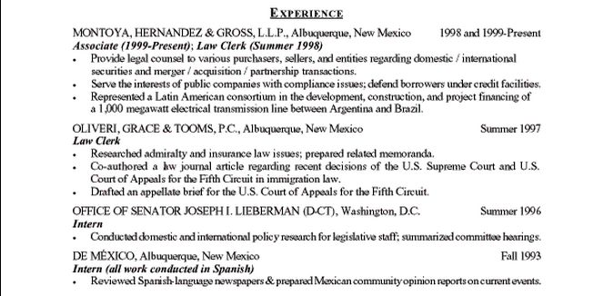 employment history resume examples