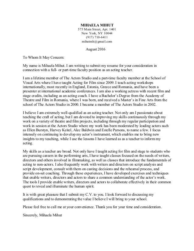 Faculty Position Cover Letter. Acting Teacher Cover Letter Mihaela ...