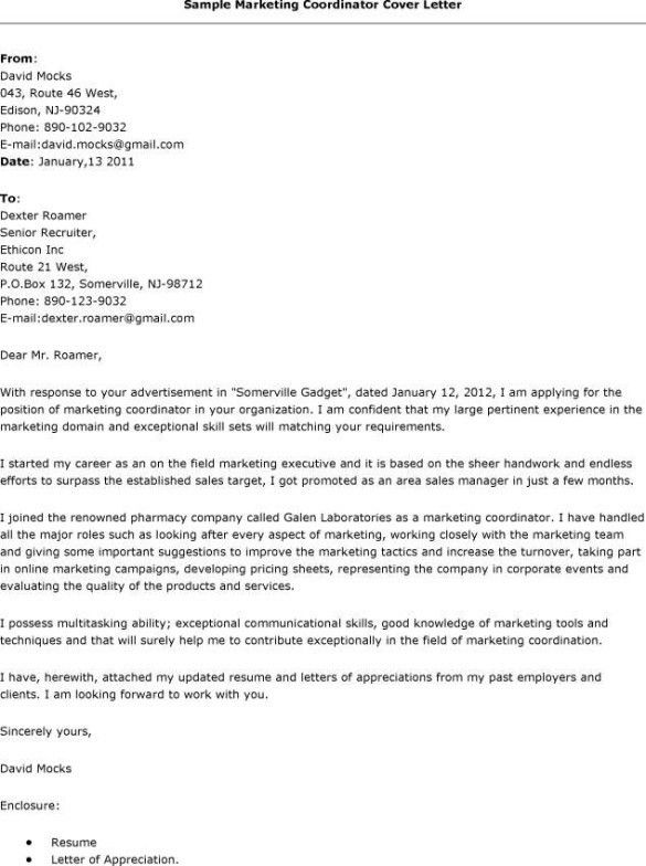 31 Professional Cover Letters For Marketing Jobs : Vntask.com