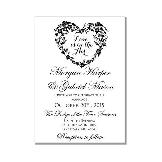 Wedding Invitation Template - Love Is In The Air - Heart Wedding ...