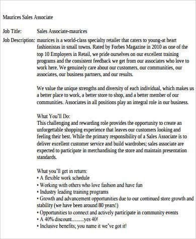 Sample Retail Sales Associate Job Description   6+ Examples In .