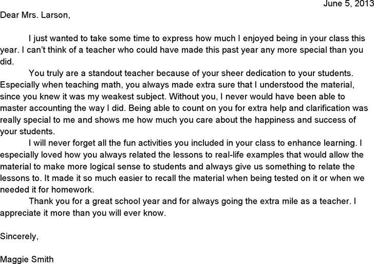 letter of appreciation to teacher99052jpg. letter homethe panther ...