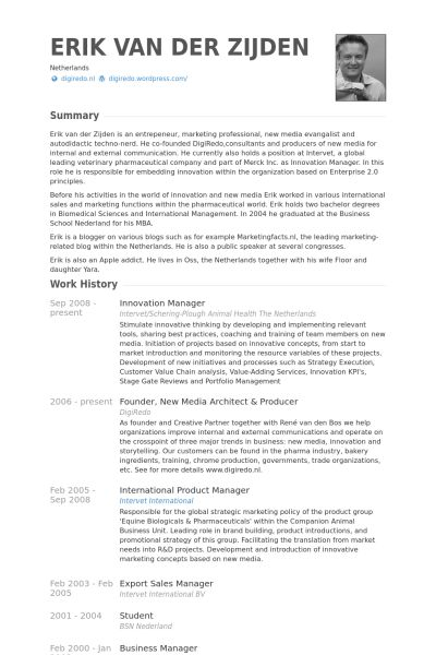 Innovation Manager Resume samples - VisualCV resume samples database