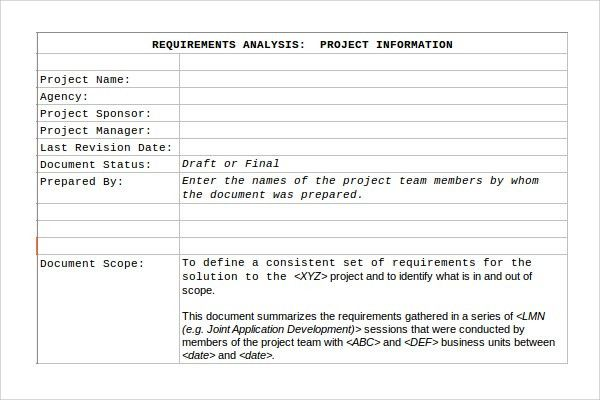 Sample Requirement Analysis Template - 9+ Free Documents in PDF ...