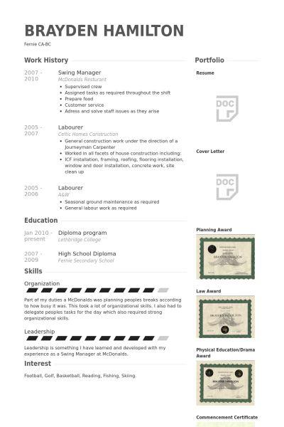 Swing Manager Resume samples - VisualCV resume samples database