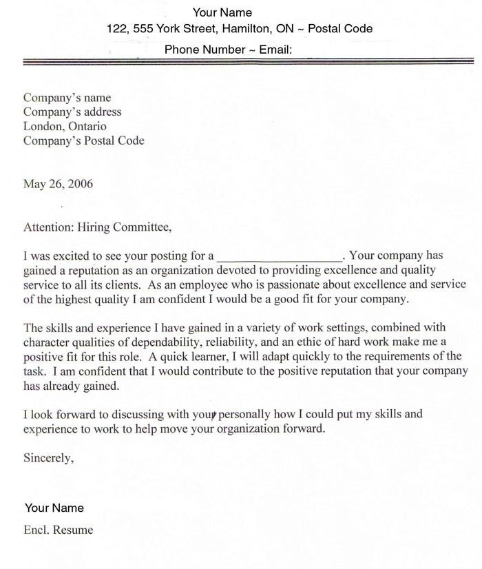 Sample Cover Letters for Employment | Sample Cover Letter for Job ...