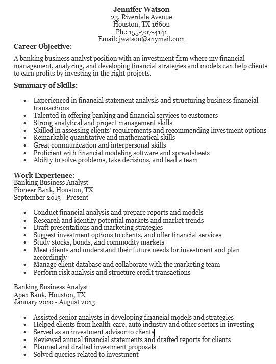 banking business analyst resume examples aroj resume samples free ...