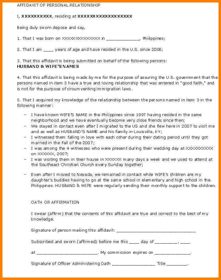 8+ affidavit template immigration | resume language