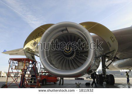 Airplane Mechanics Giant Jet Engine Repair Stock Photo 245868946 ...