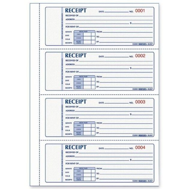 Free printable Receipt Template and Form for Rent and Sales ...