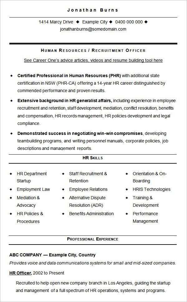 hr manager sample resume interesting. chronological resume sample ...