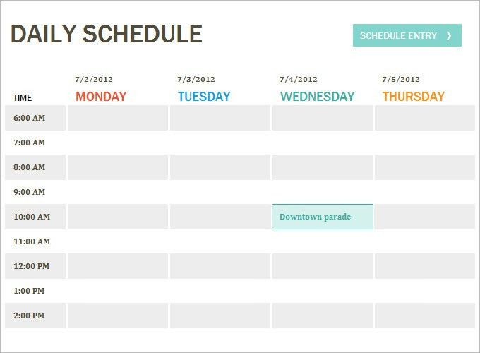 Daily Itinerary Template. Daily Work Schedule Templates | Creative ...