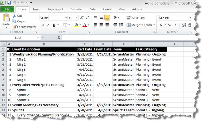 Agile sprint schedules from Microsoft Excel | OnePager Express