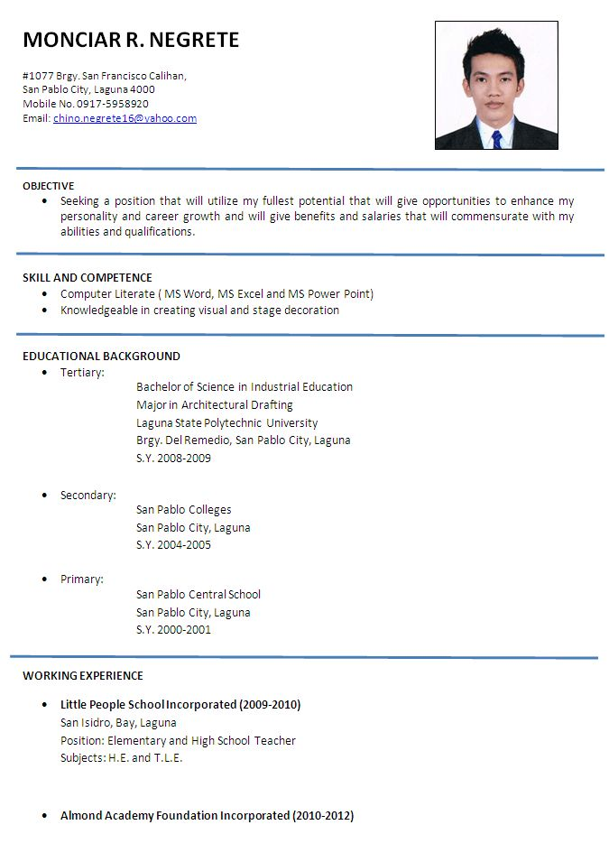 Download Sample Resume For Teachers | haadyaooverbayresort.com