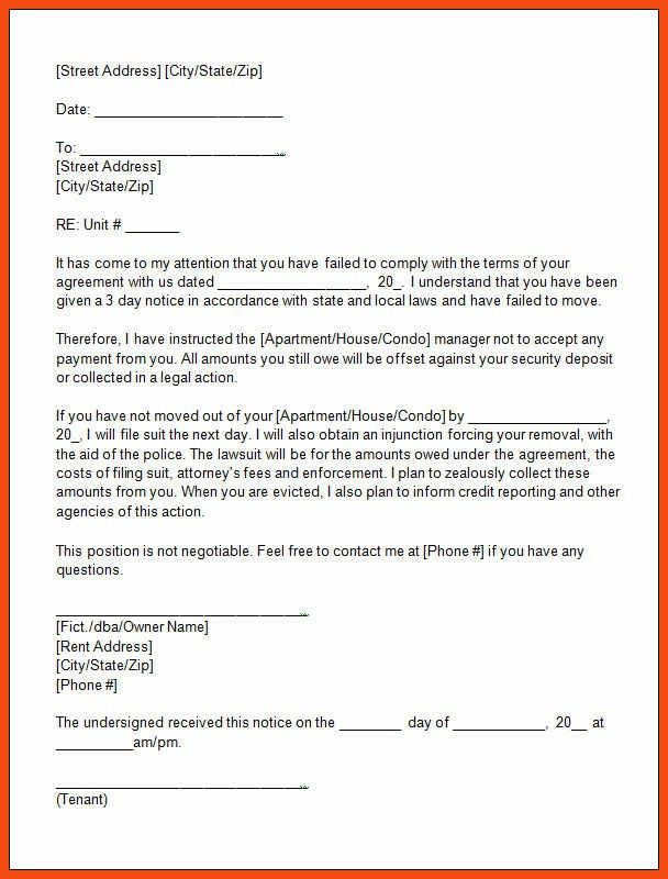 eviction letter template | program format