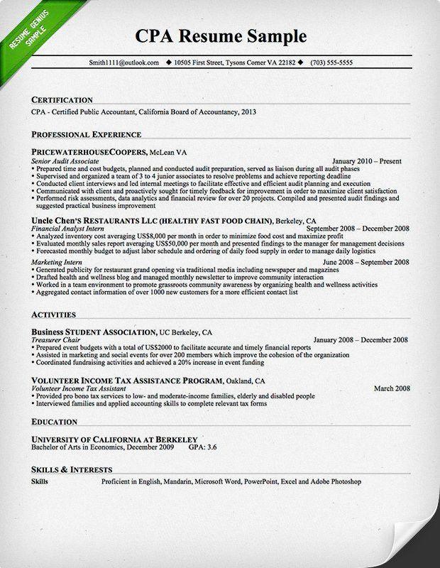 Job Resume: Certified Public Accountant Resume Sample Public ...