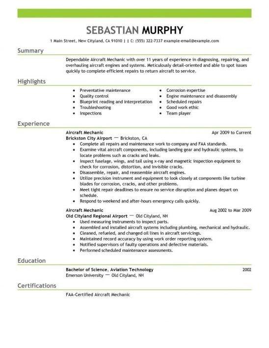 Aircraft Mechanic Resume Sample | jennywashere.com