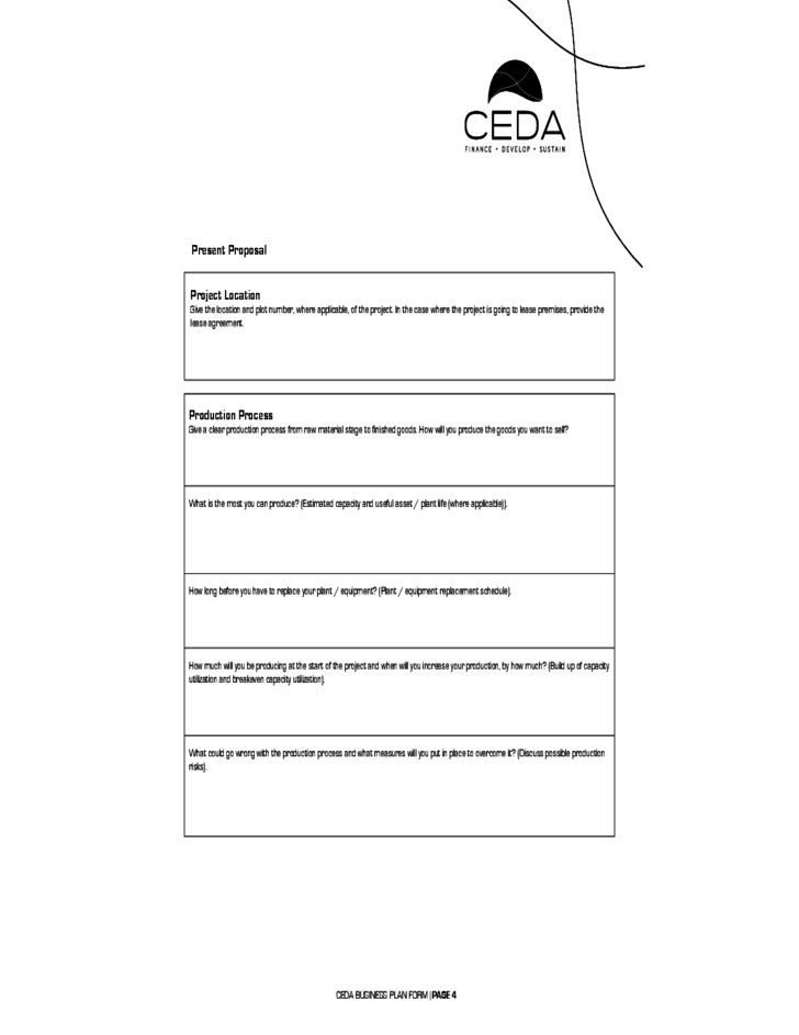 Business Plan Form - CEDA Free Download