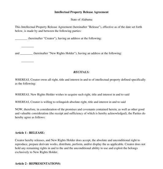 Intellectual Property Release Form - Sample, Template